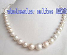Rare 6-12mm Genuine Natural White Freshwater Pearl Round Necklace 18''