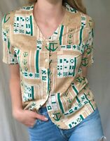 Women's Vintage 1980s Nautical Button Up (M), *100% Egyptian cotton*