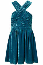 TOPSHOP NEW $120 SZ 8 M MEDIUM BLUE TURQUOISE VELVET HALTER MINI RUCHED DRESS