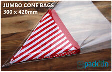 100 pack of 300 x 420mm JUMBO CONE shaped cello bags - perfect bunting packaging
