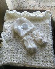 BEAUTIFUL HAND CROCHET BABY BLANKET SET YOU PICK COLOR, HELP A CANCER SURVIVOR!