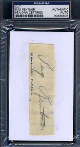 Pug Rentner Psa/dna Signed 3x5 Index Cut Autograph Authentic