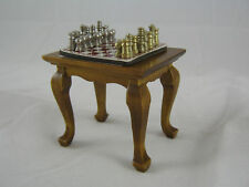 "Table & (magnetic) Chess Set   1"" scale dollhouse T6471 dollhouse miniature"