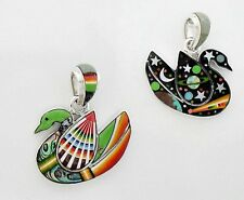 HANDCRAFTED SWAN / CELESTIAL  PENDANT IN TURQUOISE/MULTICOLOR INLAY .925 SILVER