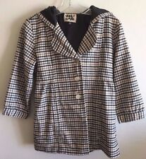 Volcom Button Front Plaid Check 3/4 Sleeve Hooded Jacket Coat Women's Medium