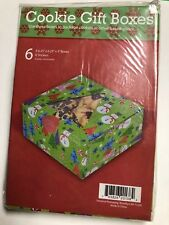 6 Treat Boxes for Cookies Or Baked Goods 6.25x6.25x3 Inch Square Red Green Nip