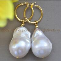 Huge 18x25mm White Natural keshi Baroque Pearl Dangle 14K Gold Leverback Earring