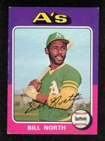 "1975 Topps #121 Bill North Oakland Athletics Baseball Card  ""mrp""  EX"