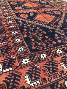 HANDMADE VINTAGE AFGHAN WOOL RUG MEASURES 77 x 43 INCHES GOOD CONDITION
