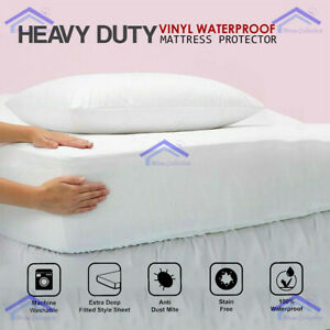 NEW HEAVY DUTY WATERPROOF MATTRESS COVER Plastic Bed Protector Fitted Sheet - UK