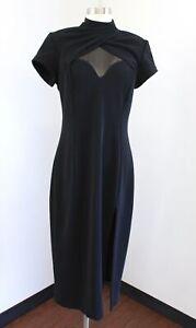 Vtg 90s Nightway Black Mesh Sweetheart Mock Neck Midi Cocktail Party Dress 14
