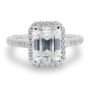 2.74 TCW Emerald Cut Moissanite  Halo Engagement Ring In 14k White Gold Plated