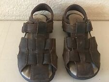 Boy's STRIDE RITE ANGLER Dark Brown Leather Sandals (Size: 9.5W)