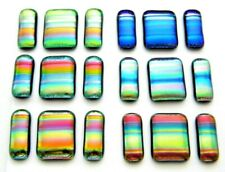 UNCAPPED 6 MATCHING PAIRS EARRINGS PENDANT CABS (L20) FUSED DICHROIC GLASS