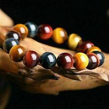 Men 10MM Natural Colorful Tiger Eye Stone Gemstone Beads Bracelet Bangle Jewelry