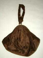 Lovely Antique Womens Brown Satin Padded Gathered Purse or Bag