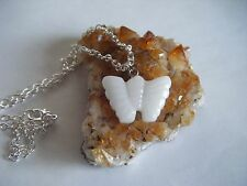 Spiritual Healing Snow Quartz Cute Butterfly Necklace A Gentle Stone for All