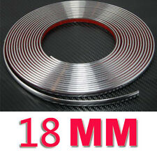 18 mm (1.8 Cm) X 15 M Tira Estilo De Moldeo De Coche Color Plata Cromo Recorte Adhesivo