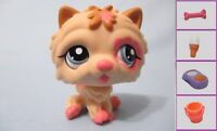 Littlest Pet Shop Dog Chow Cream Tan Pink 2304 and Free Accessory Lps Authentic