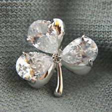 18k white Gold GF classy clover leaf Diamond simulated crystals pin brooch