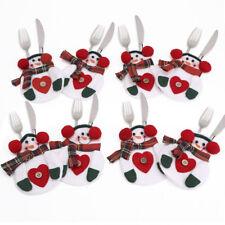 Bolsillos para Cubiertos Mesa de comedor Navidad con Forma Muñecos de Nieve