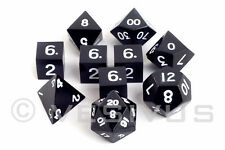 DICE Metal Mk 2 - Full DROW BLACK Set - d20 Heavy RPG D&D Dwarven Foundry D&D 10