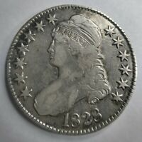 1828 Capped Bust Half Dollar Curl Base 2 with Knob Rare Very Fine Detail VF