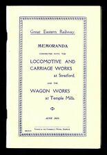 More details for great eastern railway memoranda loco works stratford & wagon works temple mills