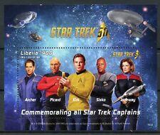 Liberia 2016 MNH Star Trek Captains Kirk Picard Janeway 50th Anniv 1v S/S Stamps