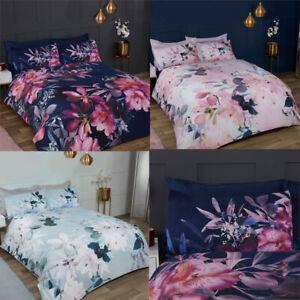 Luxury Reversible Duvet Cover Set & Pillowcases Blush Large Floral Bedding Set