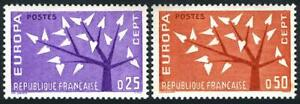 France 1045-1046 two sets, MNH. Mi 1411-1412. EUROPE CEPT-1962. Young Tree.