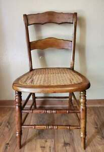 Vintage Cane Seat Dining Chair Solid Maple
