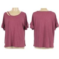 Lucky Brand Womens Top Size L Distressed Slub Knit Ruffle 100% Cotton Pink