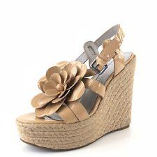 Vera Wang Lavender Penny Beige Leather Espadrille Wedge Sandals Women Size 6.5 M