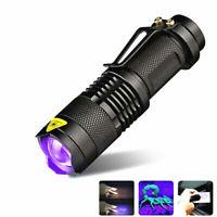 UV Ultra Violet LED Flashlight 395/365 nM Blacklight Light Inspection Lamp Torch