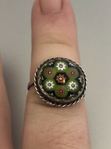 VINTAGE STERLING SILVER CAITHNESS GLASS RING HALLMARKED 1973 SIZE P 1/2/Q