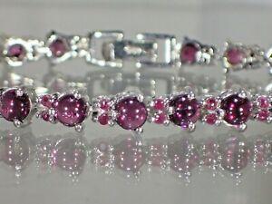 """Raspberry Rhodolite,14K Gold Plated on .925 Silver, 7.5"""" Heart Bracelet  #1501"""