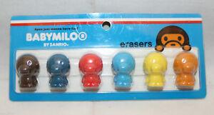 Sanrio Smiles Japan Baby Milo Stationary 6 Colorful Pencil Cap Erasers Set Rare