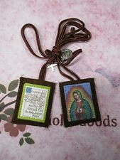 2 1/4 inch - Our Lady of Guadalupe - Brown Wool Scapular -  NEW