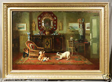 """Interior Scene Oil Painting """"Child Playing with Dog"""" signed A. M. Rossi, 1888"""