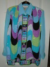 NWT~Diane Gilman~S~ 100% Washable Silk~ Powder Blue Multi Sequins~ Extra Bag