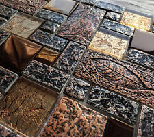 Nature Design High Relief 3d Stone Metal & Glass Copper Brown Mosaic Wall Tiles