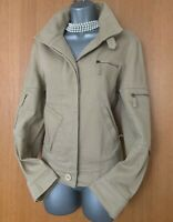 Size UK 12 Exquisite Karen Millen Beige Cotton Casual Blazer Bomber Jacket EU 40