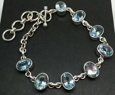 Blue topaz gemstone solid Sterling Silver bracelet, oval, new, UK, actual one.
