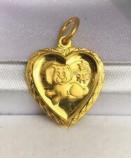 24K Solid Gold Cute Dog Animal Sign Heart Shape Charm/ Pendant, 2.35 Grams