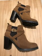 CARVELA kurt Geiger TACOMA Tan Suede Pull On High Chunky Heel Ankle Boots 41/7