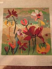 needlepoint canvas   Birds Feather         Collage  Bouquet-Gold
