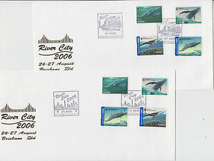 Stamps Australia 2006 whales peal & stick on River City Brisbane pair of covers