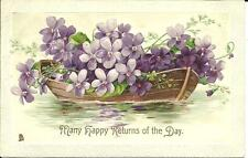 """""""MANY HAPPY RETURNS OF THE DAY"""" - (COLOUR PRINTED EMBOSSED) TUCK 1907"""