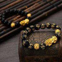 Feng Shui Black Obsidian Beaded Alloy Wealth Charm Bracelet Gold Pixiu Jewelry